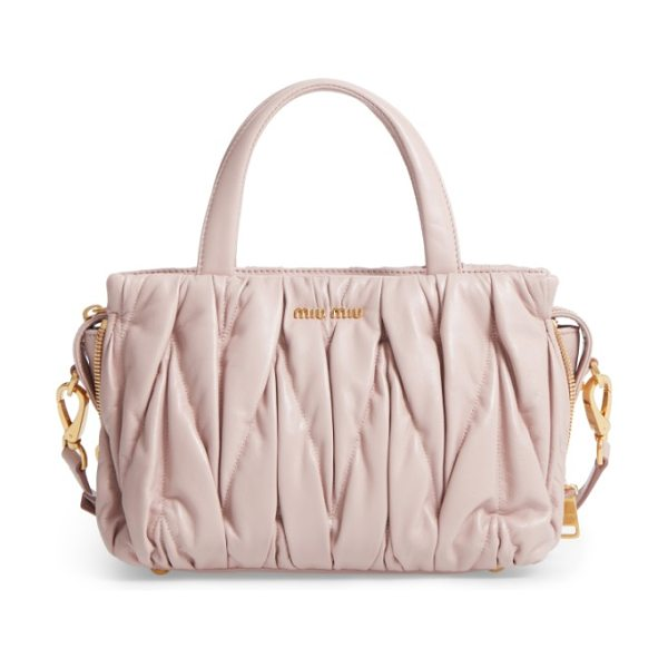 Miu Miu small matelasse nappa leather satchel in light pink - Oversized matelasse quilting adds soft dimension to a...