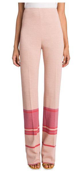 Miu Miu high-waist striped pants in beige - High-waist striped pants with pleated detailing....