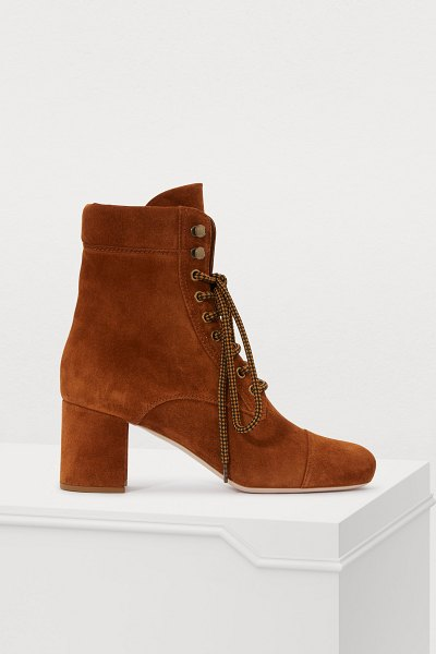 Miu Miu Suede ankle boots in palissandro