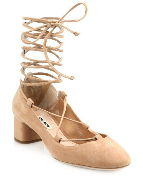 Miu Miu Suede lace-up block-heel pumps in nude - Slim laces wrap up suede pumpset on short block...