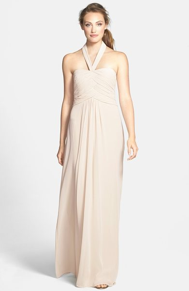 ML Monique Lhuillier Bridesmaids convertible chiffon halter gown in champagne - Overlapping ruched panels contour the fitted bodice of a...