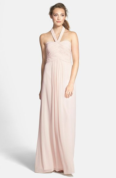 ML Monique Lhuillier Bridesmaids convertible chiffon halter gown in blush - Overlapping ruched panels contour the fitted bodice of a...