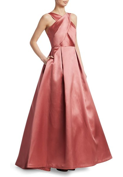 ML Monique Lhuillier Bridesmaids halter ball gown in blush - Elegant ball gown topped with crossover neckline...