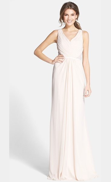 ML MONIQUE LHUILLIER BRIDESMAIDS lace back chiffon gown in blush - Meticulous pleating that gathers to the center creates...