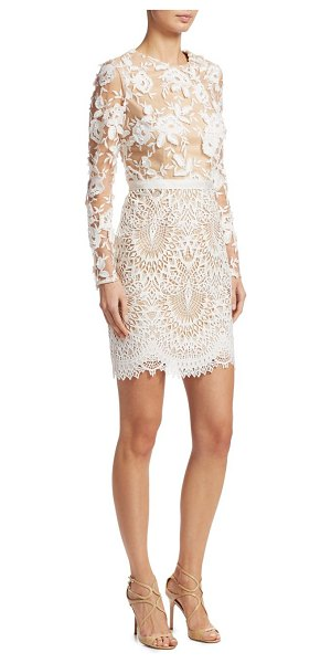 ML Monique Lhuillier Bridesmaids lace cocktail dress in ivory nude