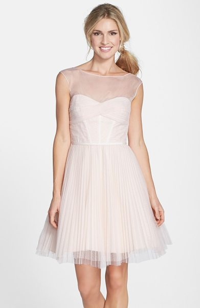 ML Monique Lhuillier Bridesmaids illusion yoke tulle fit & flare dress in blush - Deft pleating shapes the illusion-yoke bodice and adds...