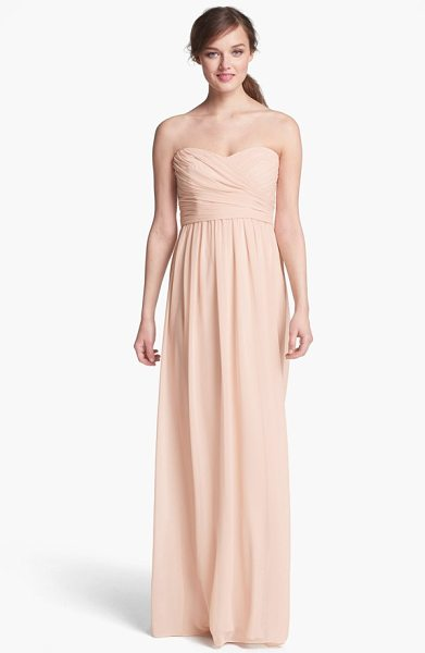 ML Monique Lhuillier Bridesmaids strapless ruched chiffon sweetheart gown in blush - A floating chiffon skirt enhances the elongated...