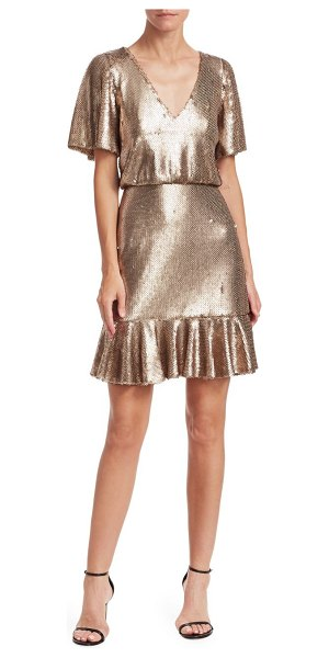 ML Monique Lhuillier Bridesmaids sequin popover dress in gold