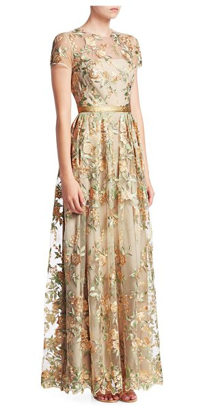 ML Monique Lhuillier Bridesmaids sheer floral overlay satin gown in gold mutli - Floral embroidered mesh with scalloped hem and golden...
