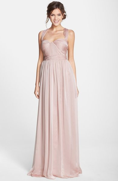 ML MONIQUE LHUILLIER BRIDESMAIDS shirred chiffon gown in blush - Meticulous shirring adds soft dimension to the sculpted...