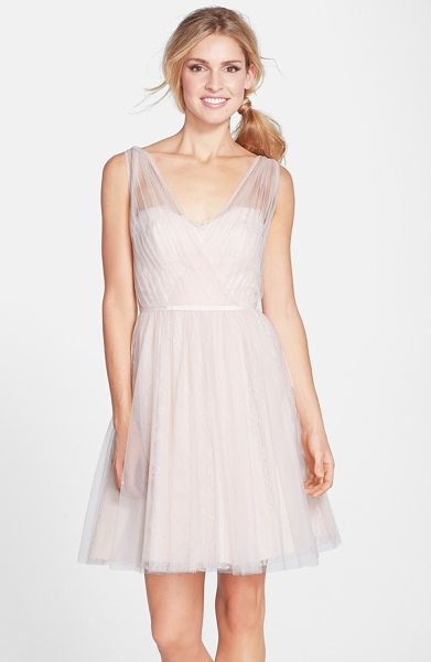 ML Monique Lhuillier Bridesmaids tulle overlay lace fit & flare dress in blush - Gossamer tulle overlaying decadent lace-pleated and...