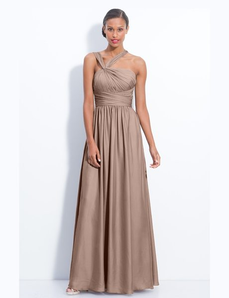 ML Monique Lhuillier Bridesmaids twist shoulder satin chiffon gown in sand - A knotted twist pulls aside the gathered straps of a...