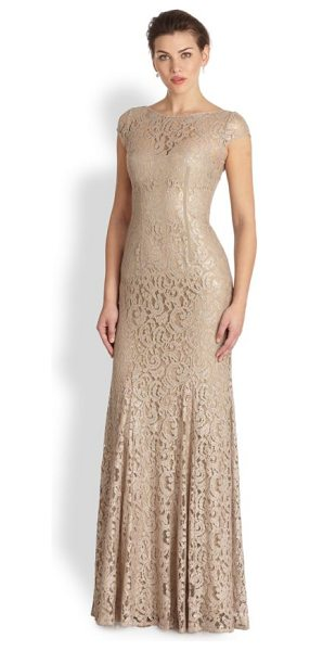 ML Monique Lhuillier Bridesmaids Cap-sleeve lace gown in gold - A timeless design crafted with romantic lace skims the...