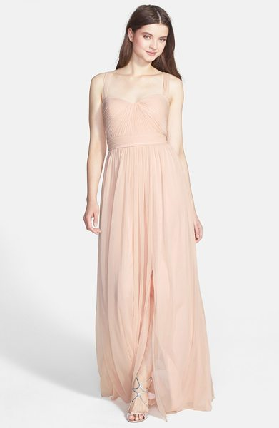 ML MONIQUE LHUILLIER BRIDESMAIDS Ml  jersey chiffon gown - Expert pleating emphasizes the structured bodice of a...