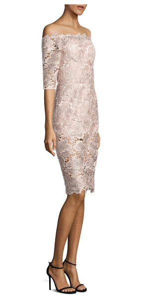 ML Monique Lhuillier Bridesmaids off-the-shoulder lace dress in blush - Mesmerizing dress featuring floral lace overlay....