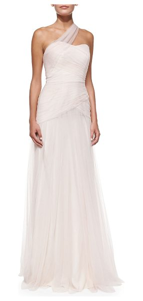 ML Monique Lhuillier Bridesmaids One-Shoulder Draped Tulle Gown in blush - Poly tulle gown by ML Monique Lhuillier. Approx....