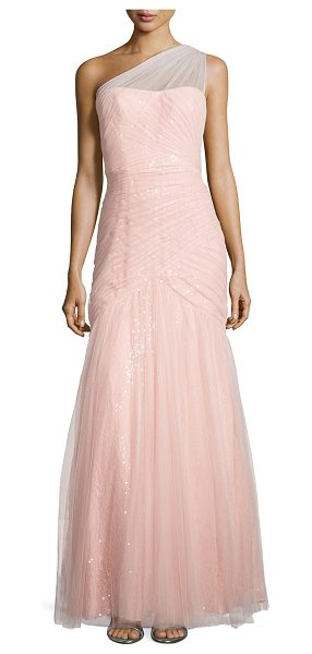 ML Monique Lhuillier Bridesmaids One-shoulder sequined-lace tulle-overlay gown in blush - ML Monique Lhuillier gown in sequined-lace with tonal...