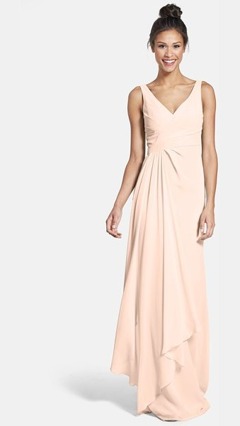 ML Monique Lhuillier Bridesmaids sleeveless v-neck chiffon gown in blush - A pleat-softened bodice with a pretty crossover neckline...