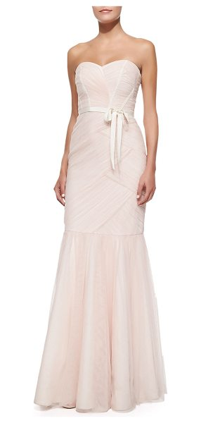 ML MONIQUE LHUILLIER BRIDESMAIDS Strapless ruched tulle gown in blush - Ruched tulle gown by ML Monique Lhuillier. Approx....