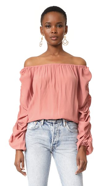 MLM Label atlantic off shoulder top in rose gold - Hidden elastic bands run down the long sleeves of this...