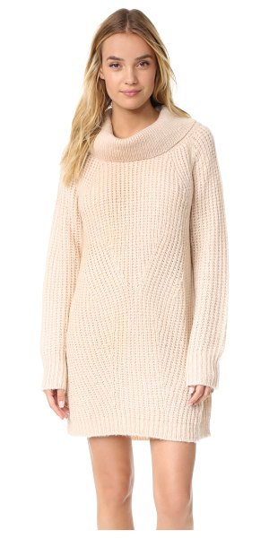 MLM Label cowl neck knit dress in dusty blush - A chic, cozy MLM LABEL sweater dress with a soft cowl...