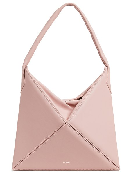 Mlouye mini flex hobo bag in pink cloud - Leather: Calfskin Smooth leather Padded strap Zip at top...