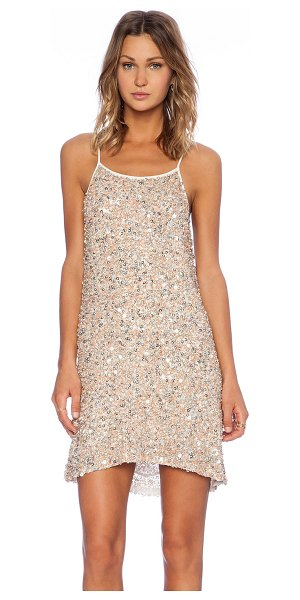 MLV Gina hoop sequin dress in blush - Poly blend. Dry clean only. Neckline to hem measures...