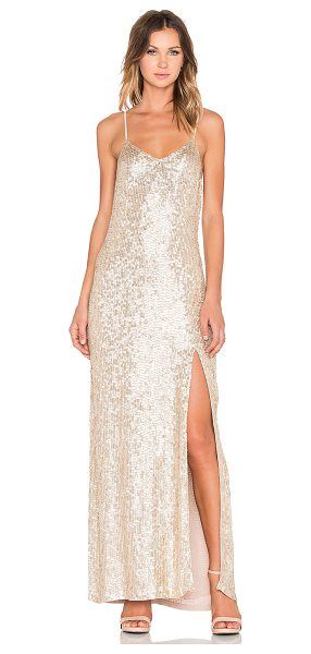 MLV London sequin maxi dress in metallic gold - Poly blend. Dry clean only. Fully lined. Adjustable...