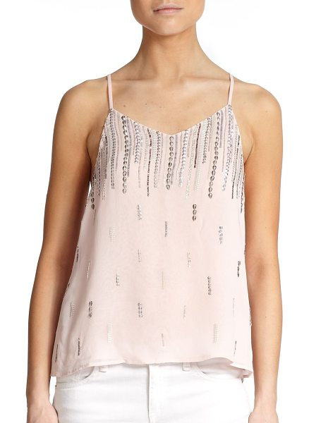 MLV Sequined shell in blush - Rows of sequins add effortless glamour to this airy...
