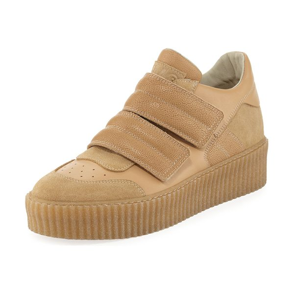 """MM6 MAISON MARGIELA Banded Leather Low-Top Sneaker in beige - MM6 Maison Martin Margiela suede and leather sneaker. 1""""..."""