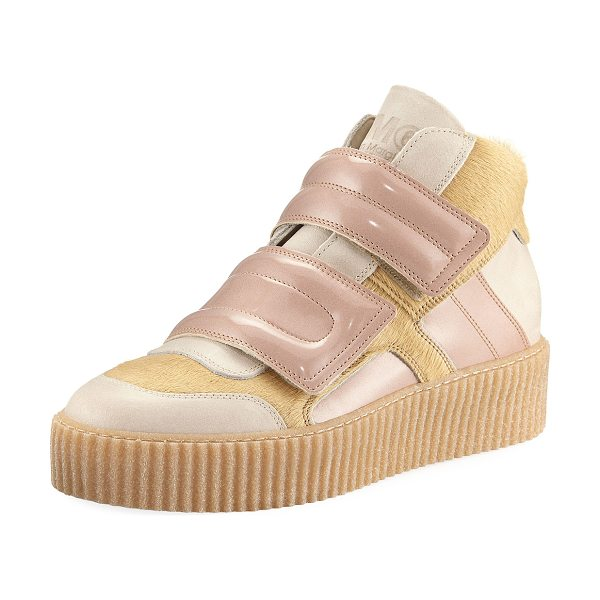 MM6 MAISON MARGIELA Calf Hair & Patent Leather High-Top Sneaker in beige pink - MM6 Maison Martin Margiela sneaker in dyed calf hair...