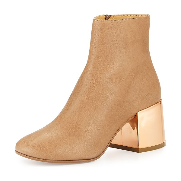 MM6 MAISON MARGIELA Leather Chunky-Heel Ankle Boot in nude