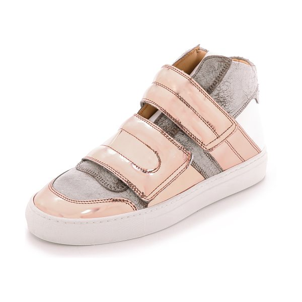MM6 MAISON MARGIELA High top velcro sneakers in taupe/copper/white - High top MM6 Maison Martin Margiela sneakers in a mix of...