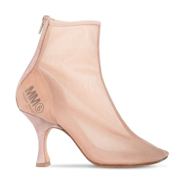 MM6 MAISON MARGIELA 85mm mesh boots in nude - 85mm Suede covered heel. Transparent mesh upper. Back...