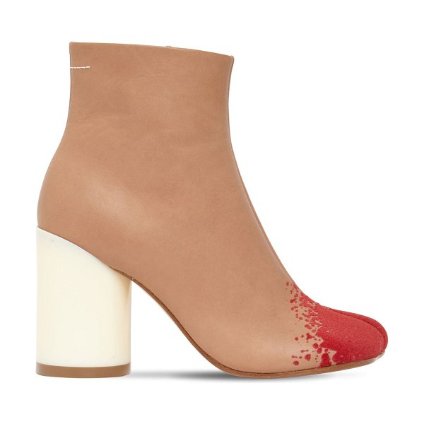 MM6 MAISON MARGIELA 90mm leather & suede ankle boots in tan,red