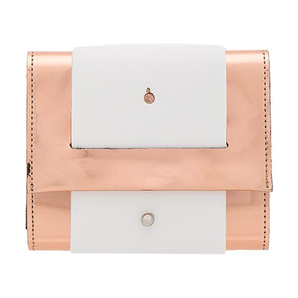 MM6 MAISON MARGIELA Clutch in light pink & white - Metallic coated poly and leather exterior with nylon...