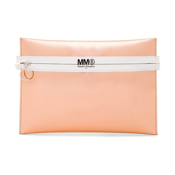 MM6 MAISON MARGIELA Clutch in light pink - Metallic coated poly exterior with poly fabric lining....