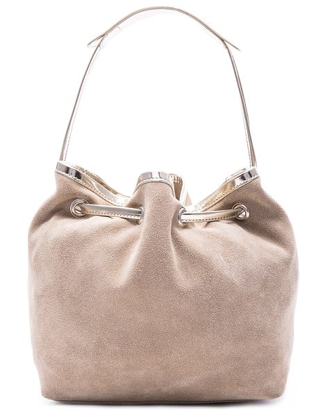 MM6 MAISON MARGIELA Drawstring bag in neutrals - Genuine suede with raw lining and silver-tone hardware. ...