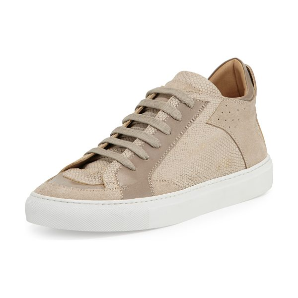 MM6 MAISON MARGIELA Lizard-embossed low-top sneaker in beige/taupe - MM6 Maison Margiela lizard-embossed calf leather low-top...
