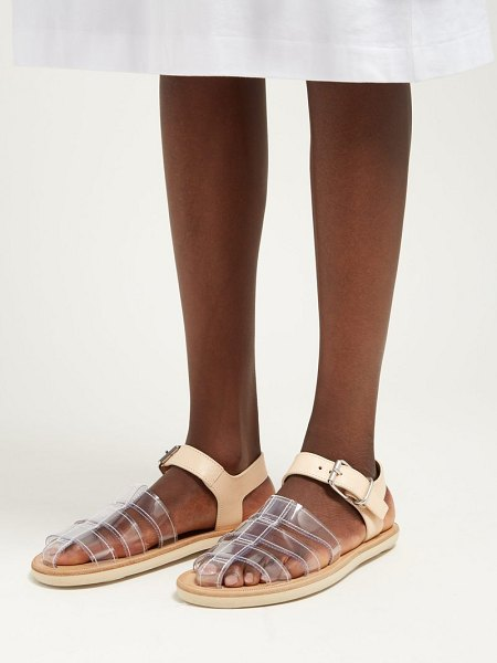 MM6 MAISON MARGIELA perspex and leather cage sandals in tan