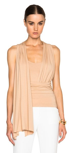 MM6 MAISON MARGIELA Stretch jersey top in neutrals - 96% viscose 4% elastan.  Made in Italy.  Fabric overlay...