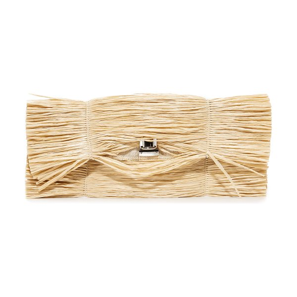 MM6 MAISON MARGIELA straw clutch in natural - Voluminous straw fringe covers this MM6 clutch, bringing...