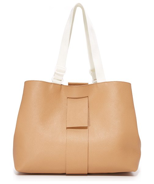 MM6 MAISON MARGIELA tote bag in light brown - A magnetic tab threads through the top of this pebbled...