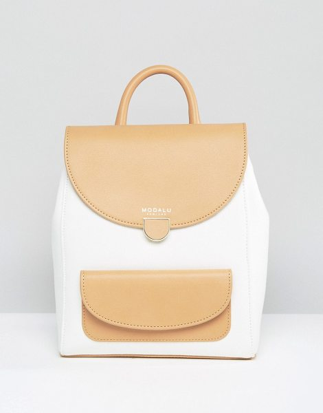 Modalu Flora Small Backpack in cream - Cart by Modalu, Canvas outer, Contrast leather trims,...