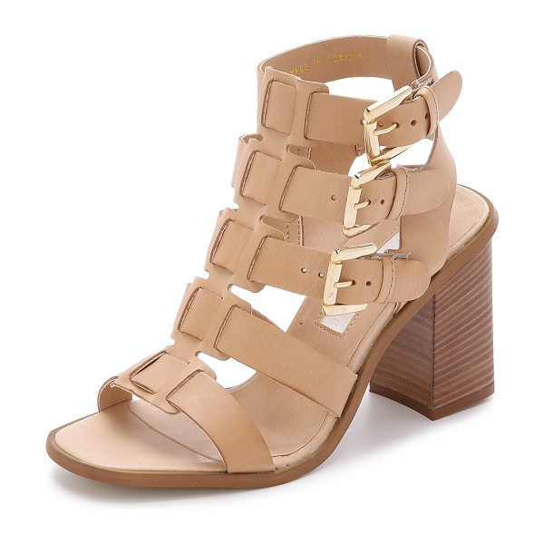 MODERN VINTAGE SHOES Orphia buckle sandals in sand - Leather straps weave though the center of these Modern...