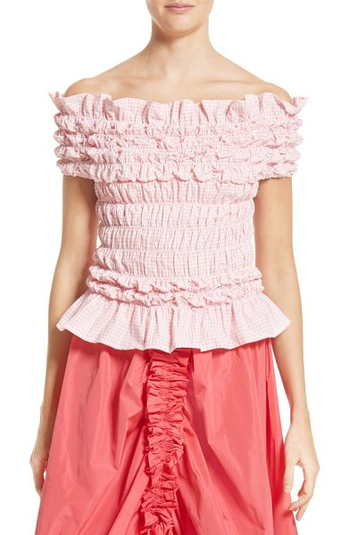 MOLLY GODDARD olga top in pink/ white - Smocked pink gingham brings sweet dimension to a girlish...