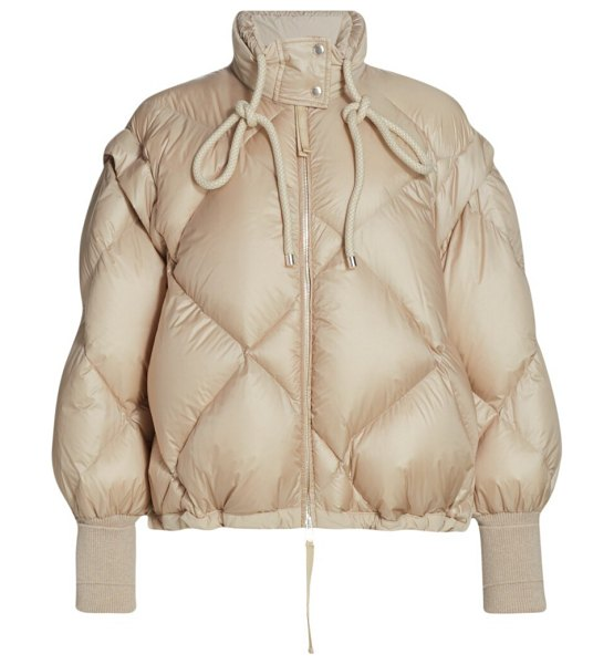 Moncler 1952 francesca convertible quilted bomber jacket in beige