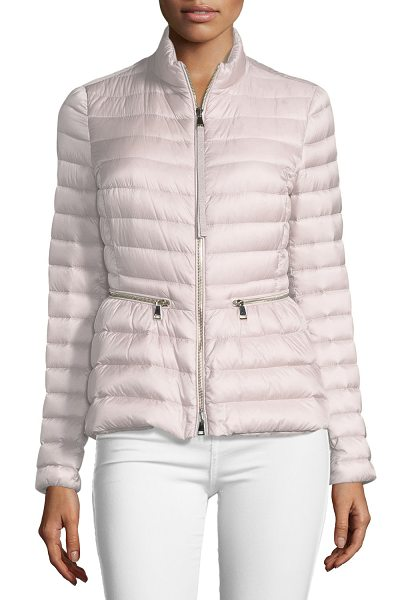 "Moncler Agate Short Quilted Puffer Jacket in blush - Moncler ""Agate"" quilted puffer jacket with down/feather..."