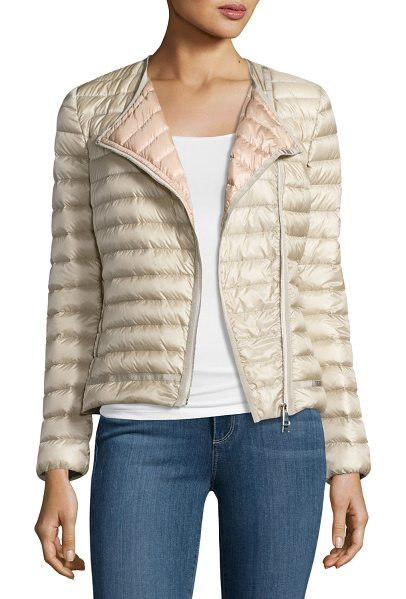 """Moncler Amy Quilted Collarless Jacket in beige - Moncler """"Amy"""" moto-inspired jacket in channel-quilted..."""