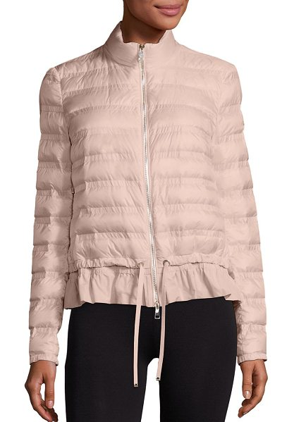 Moncler anemone short peplum jacket in blush